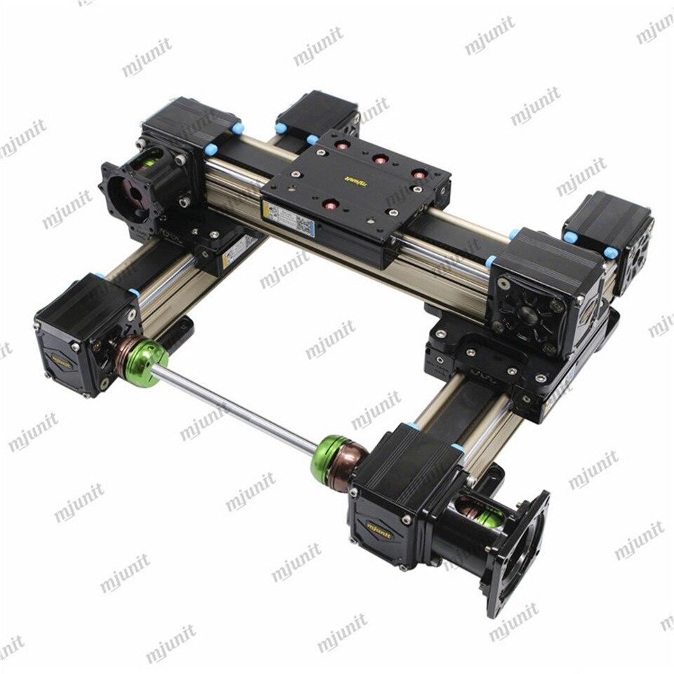 Mjunit حزام وحدة الشريحة الخطية مع XZ محور هيكل العملاقة ، وحدة إدارة الموتور الإضافي متزامن حزام دليل مناور