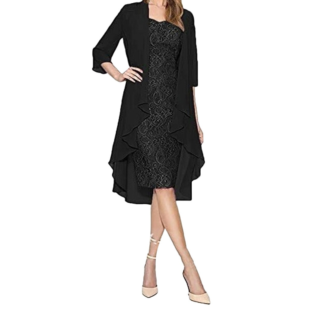 Women's two piece charming solid color mother of the bride lace dress cardigan elegant Quarter Sleev