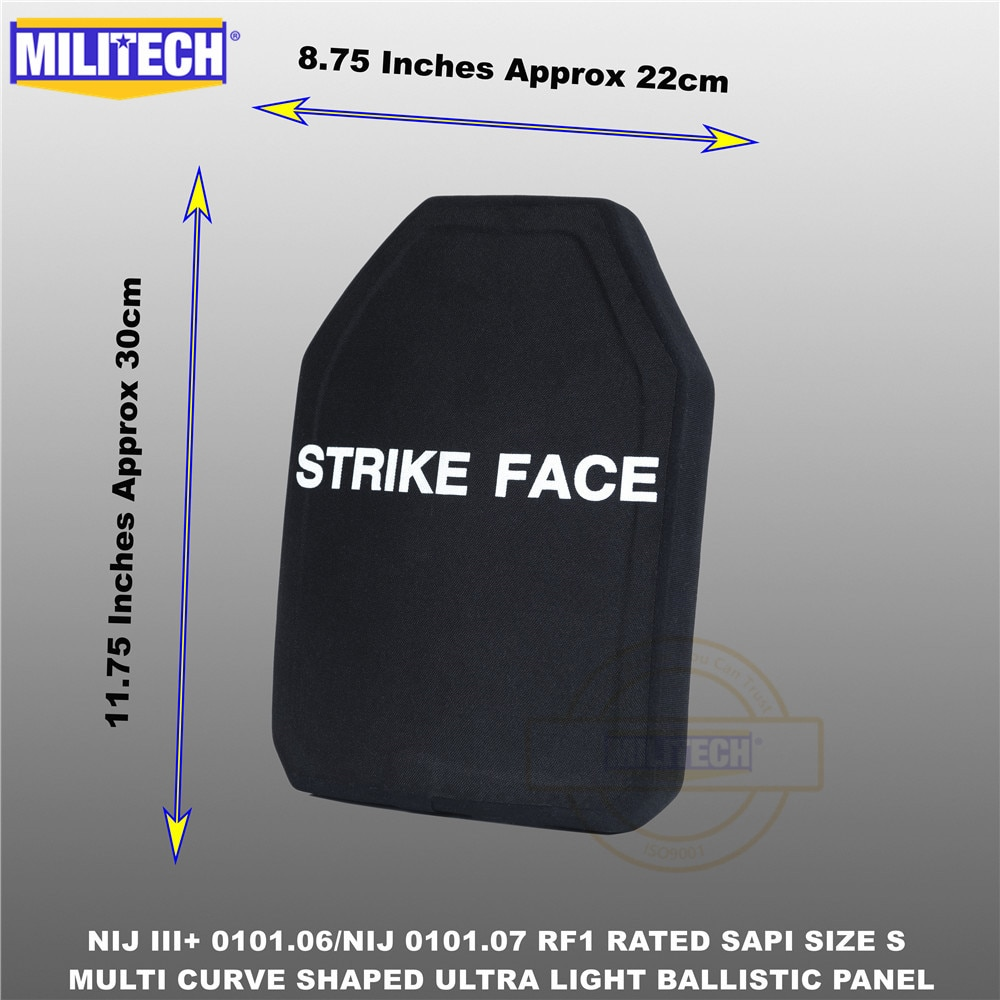 Balísticos antibalas placa NIJ nivel 3 + NIJ 0101,07 RF1 SAPI tamaño 1 PC Ultra luz panel PE contra M80 y AK47 y M193. Militech