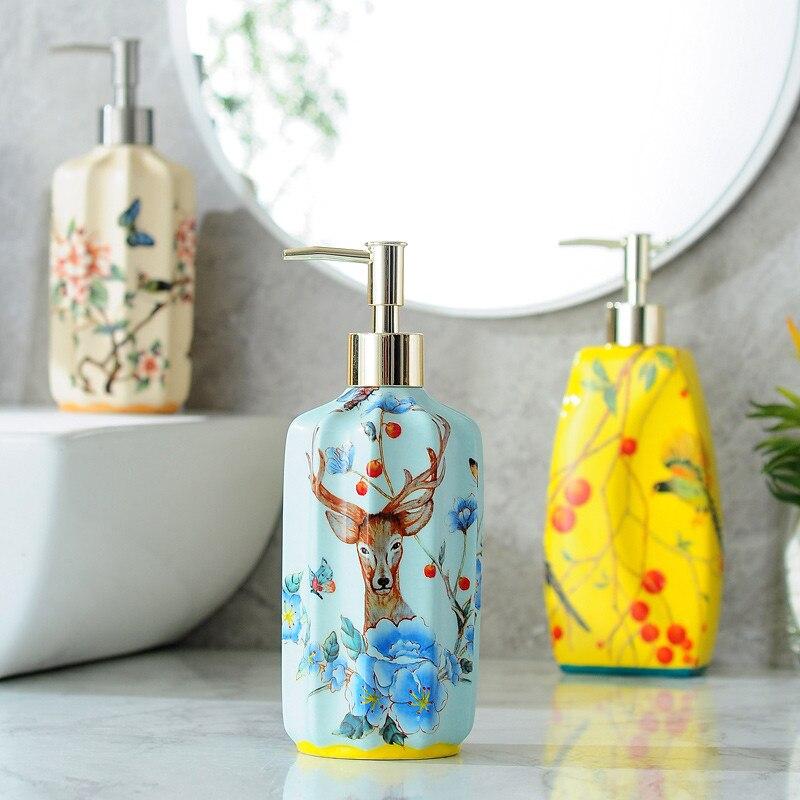 موزع الصابون السائل السيراميك الحمام شامبو استحمام زجاجة هلام مع 304 SUS الصحافة نوع رئيس ل KTV الجمال صالون حمام الأجهزة
