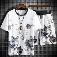 summer mens fashion brand medium pants 5 4 ice silk casual pants ins loose fashion quick drying short sleeve shorts set