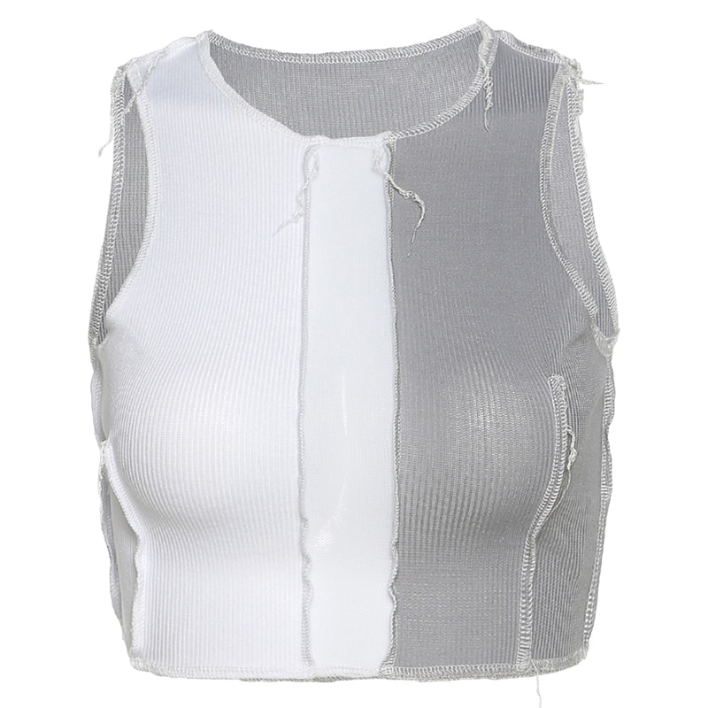 2021New Spring And Summer Women's Solid Color Round Neck Sleeveless See-Through Mesh Stitching Exposed Umbilical Slim Vest Women  - buy with discount