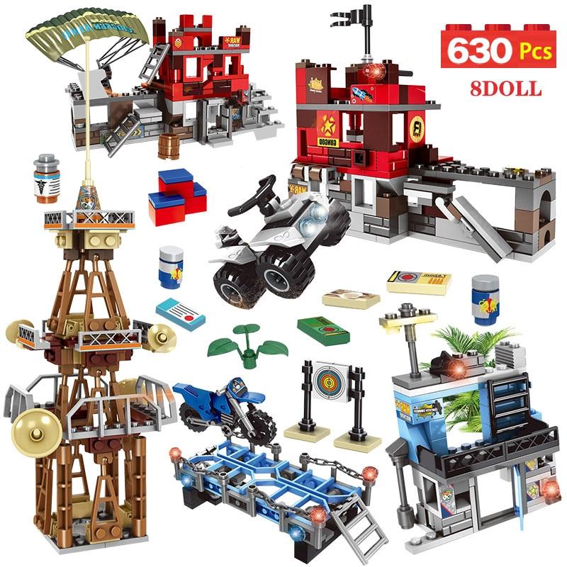 630 piezas Legoingly PUBG WW2 ejército ladrillos jugador desconocido campo de batalla militares soldados arma construcción bloques juguetes para niños