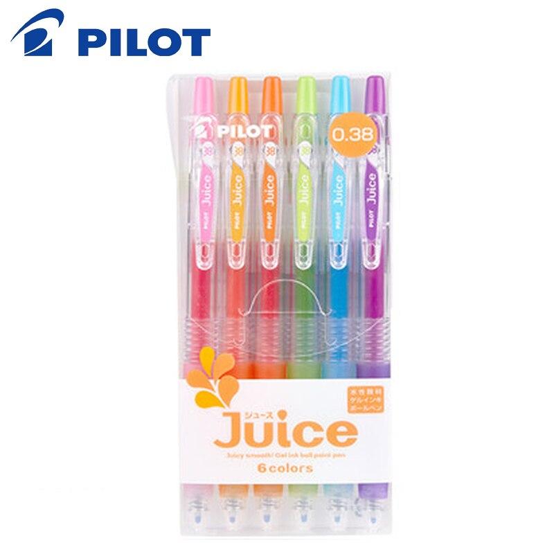 Conjunto de caneta de suco de suco piloto 6/12 cor conjunto imprensa tipo gel caneta pérola luz mão conta gel caneta estudante papelaria 0.5/0.38