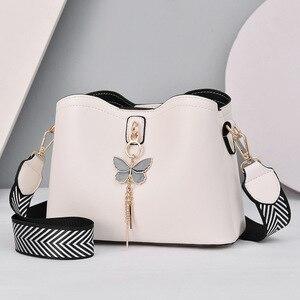 2021 Women White Handbag New Designer Butterfly Tassel PU Leather Messenger Bags Ladies Crossbody Female Tote Shoulder Bag