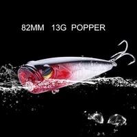 popper wobbler fishing lure with 6 hooks 82mm 13g floating crankbait artificial bait poper pesca carp pike