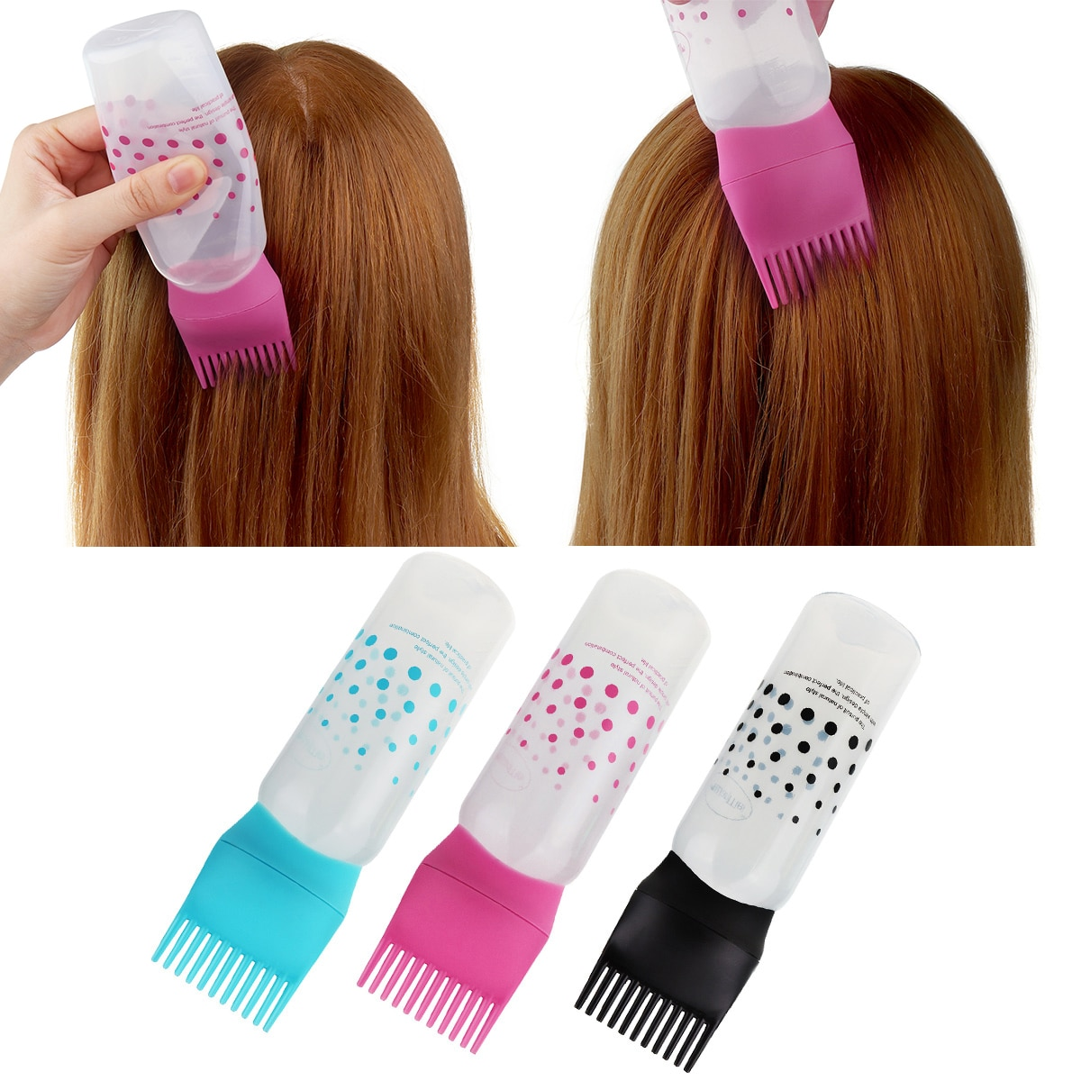 1pc Shampoo Bottle Plastic Oil Comb Applicator Bottles Big Capacity Dispensing Salon Hair Coloring S