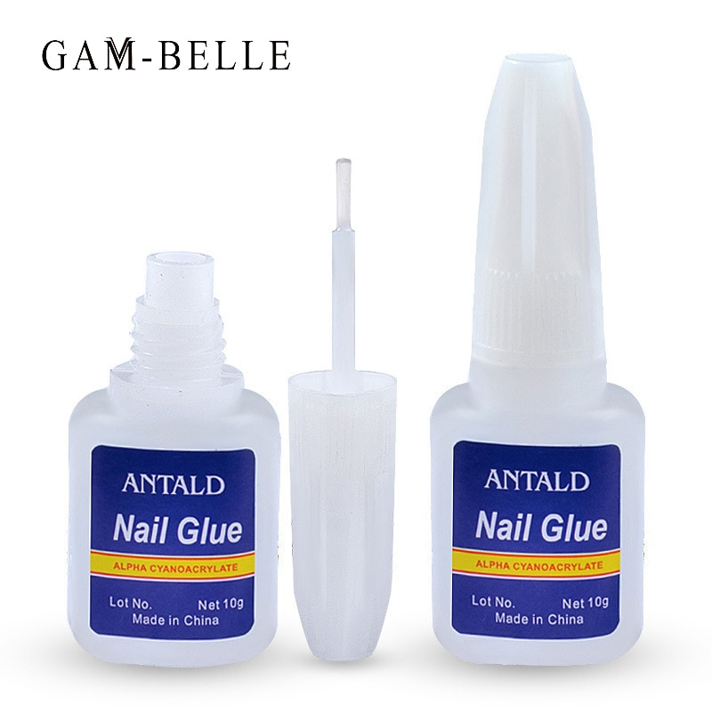 GAM-BELLE 10g Nail Glue Quick Drying Fake Tips Nail Glitter Acrylic Rhinestone Tools With Brush 3D N