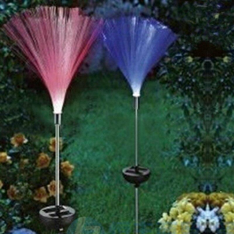 Luz solar 2 pçs luz do gramado de fibra óptica ao ar livre à prova dlightágua lightproof jardim villa corredor decoração natal iluminação