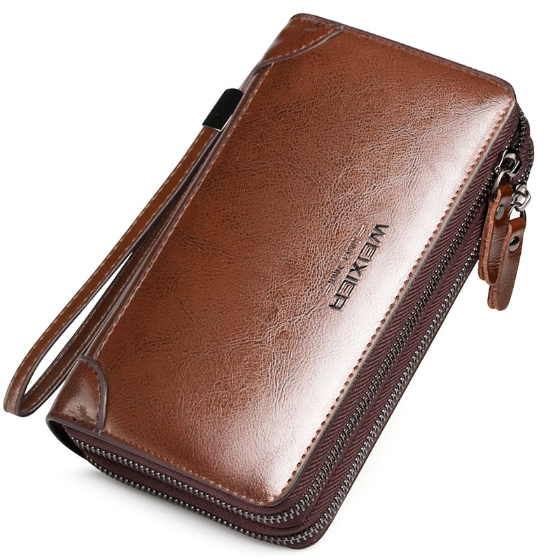 High quality Leather Man's 'Card Holder Wallet Coin Purse Long Phone Wallet men's clutch bag lar