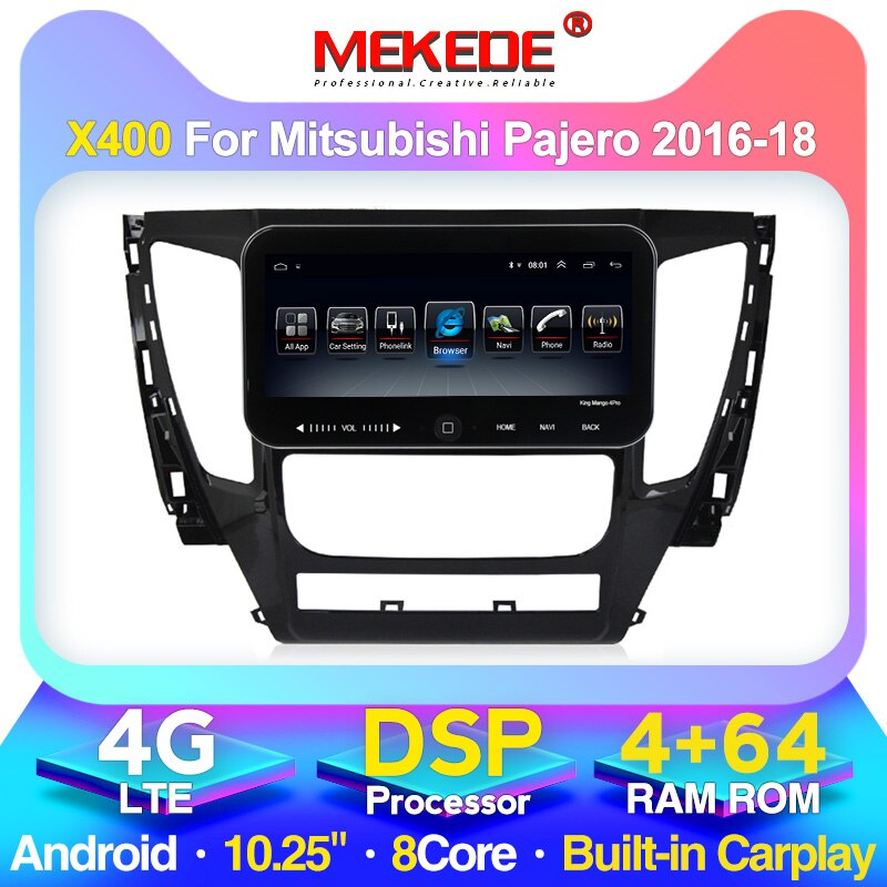 Reproductor Multimedia MEKEDE 4GB + 64GB para coche, para Mitsubishi Pajero 2016-2018 Radio estéreo con navegación GPS unidad central de pantalla táctil DSP