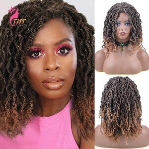 Short Dreadlock Wig Synthetic Twist Wigs For Black Women Gypsy Locs Crochet Goddess Wig Heat Resistant Wig Curly Wigs