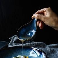 deep blue ceramic plate seasoning dish creative japanese style dish household tableware restaurant pickle small plate gravy boat
