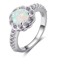 women ring fashion colorful crystal round flower ring for women wedding engagement bands girlfriend birthday gift jewelry