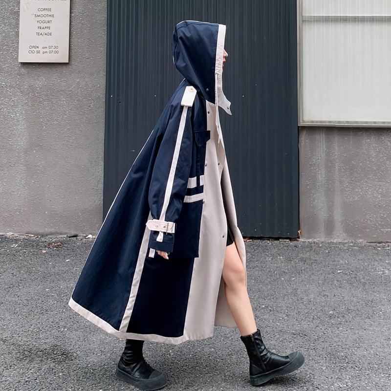المرأة خندق معطف مقنعين مزدوجة الصدر المعتاد خليط سيدة سترة واقية مع حزام الربيع الخريف ملابس خارجية الإناث الملابس
