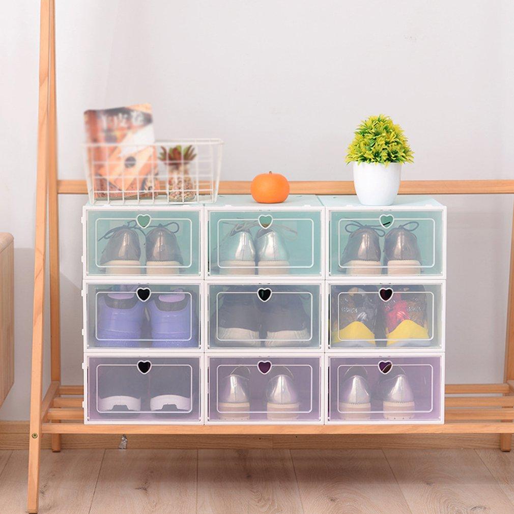 Caja de zapatos transparente plegable, caja de cajón gruesa, caja de plastico para zapatos, caja apilable, organizador de zapatos, Zapatero de almacenamiento 2020