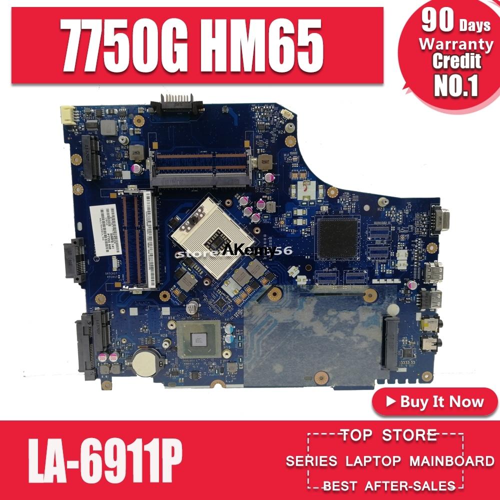 7750G motherbaord for Acer aspire laptop motherboard 7750 7750G MBRN802001 P7YE0 LA-6911P 3AMFG HM65 original 100% tested