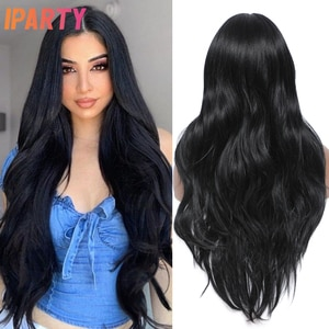 Long Black Synthetic Wigs Lace Front Wig Middle Part Natural Wave Hair Daily Cosplay Wig Heat Resistant Fiber For Women IPARTY