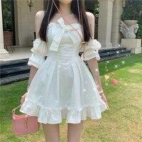 japanese kawaii white lolita princess dress suspenders off shoulder bow fairy cute kawaii ruffles party chic mini dress vestidos