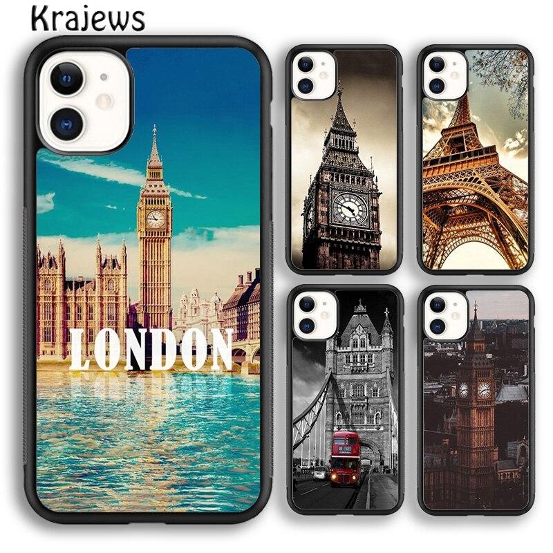 Krajews londres torre eiffel grande ben capa de telefone para o iphone 5S 6s 7 8 plus x xs xr 11 12 pro max samsung galaxy s7 s8 s9 s10