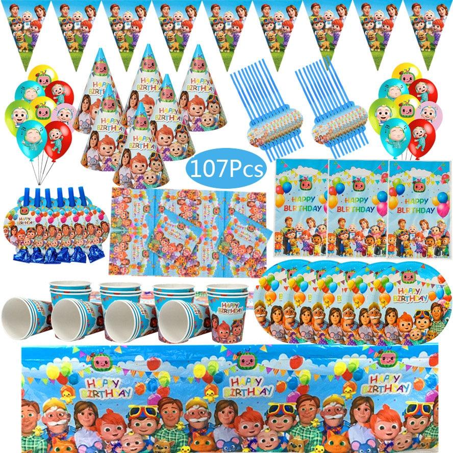 Cocomelon موضوع لوازم الحفلات لوازم الطاولة/المائدة قابل للتصرف مجموعة كأس لوحة منديل القش بالونات عيد ميلاد سعيد الديكور المفضل للطفل