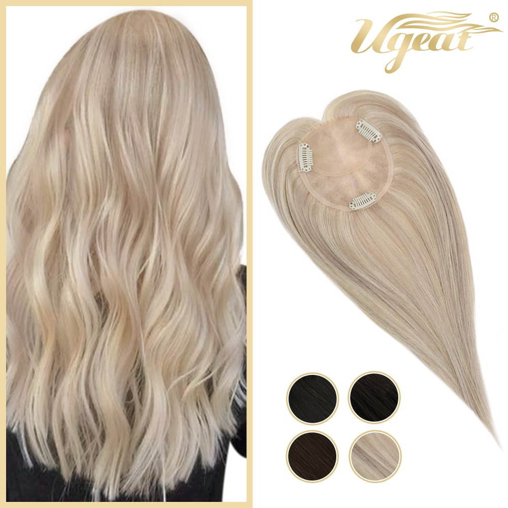 Ugeat Hair Topper Human Hair Mono Base Size 9.5*10cm Highlight Color 18 and 613 Blonde Clip in Hairpieces for Women Hair Wiglets