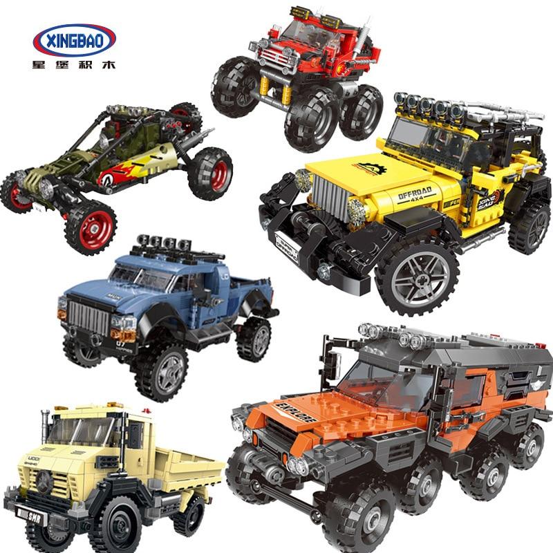 XingBao Compatible Technic City monster truck Pickup set model blocks building suv off-road vehicle jeep Humvee racer car