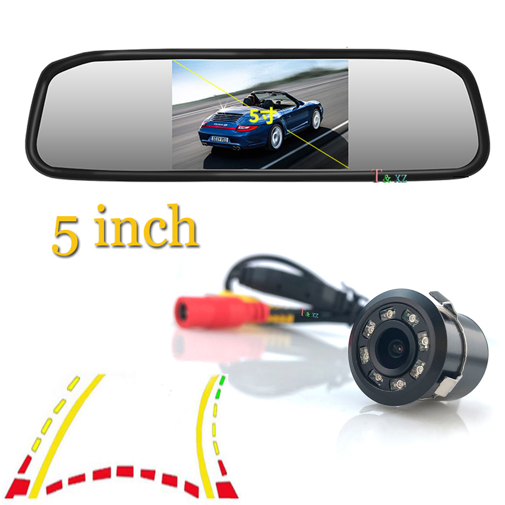 Monitor de coche de 5 pulgadas, asistencia de estacionamiento para coche, visión nocturna, trayectoria dinámica inteligente, línea de estacionamiento, cámara de marcha atrás de respaldo de coche