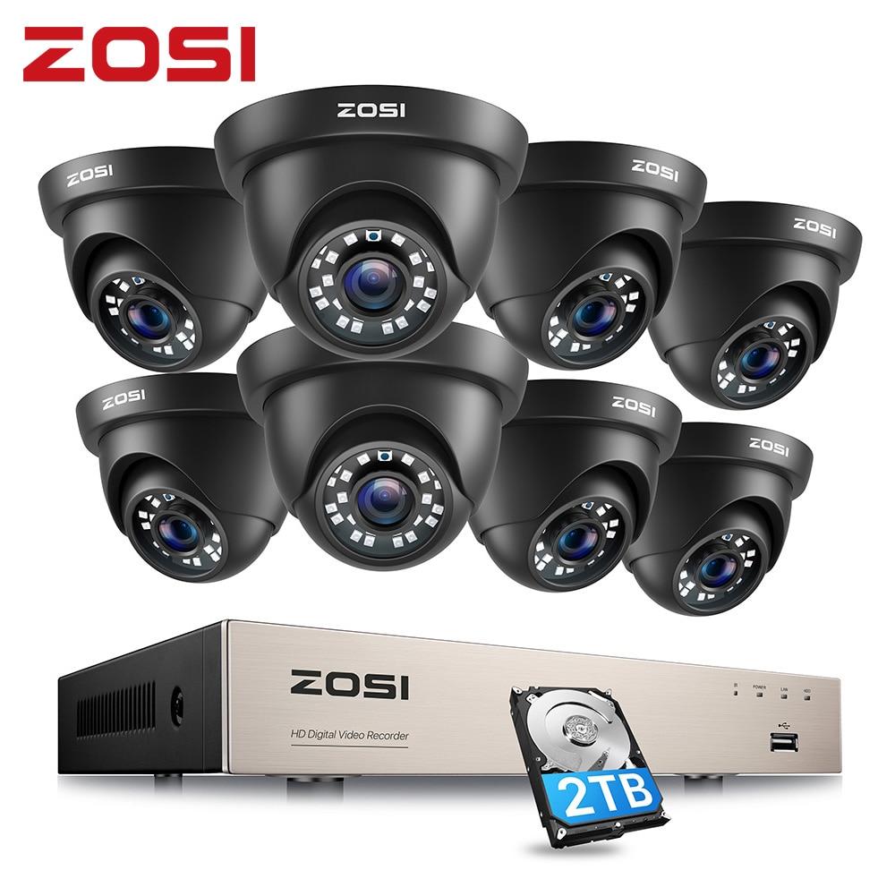 ZOSI 1080p فيديو مراقبة نظام 8CH HD-TVI 1080P H.265 + CCTV DVR مع 8 قطعة HD 2.0MP في/Outddor قبة الأمن كاميرات كيت