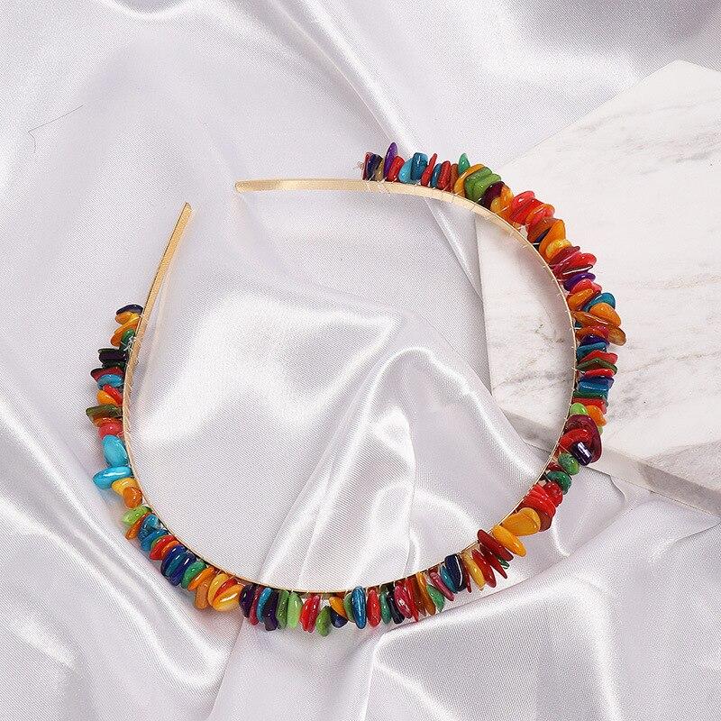 Diademas de perlas simuladas para niñas 2020, diadema de concha para mujeres, diadema con piedra preciosa Natural, conchas, joyería para el cabello, regalo de fiesta de boda