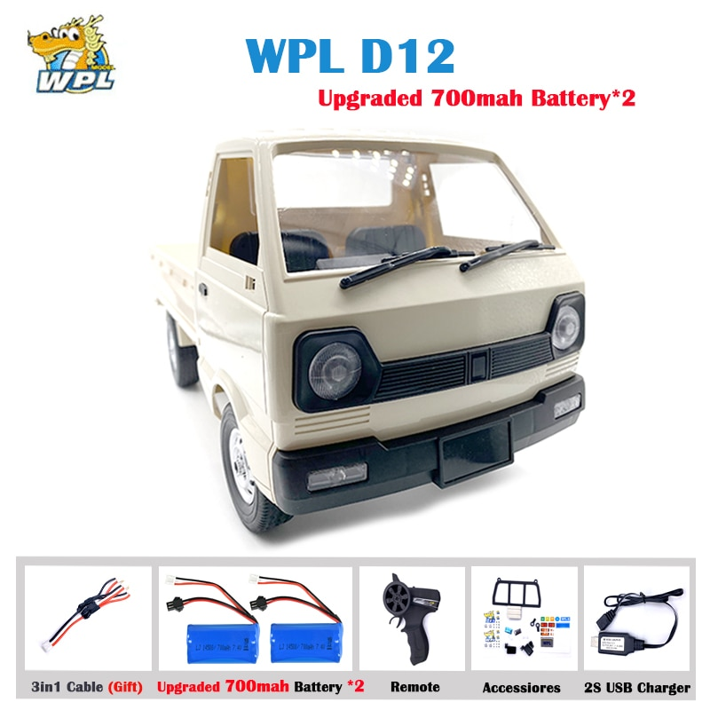 WPL D12 1:10 2WD RC سيارة محاكاة الانجراف تسلق شاحنة مصباح ليد على الطريق 260 نحى موتور D12 سيارة 1/10 للأطفال هدايا اللعب