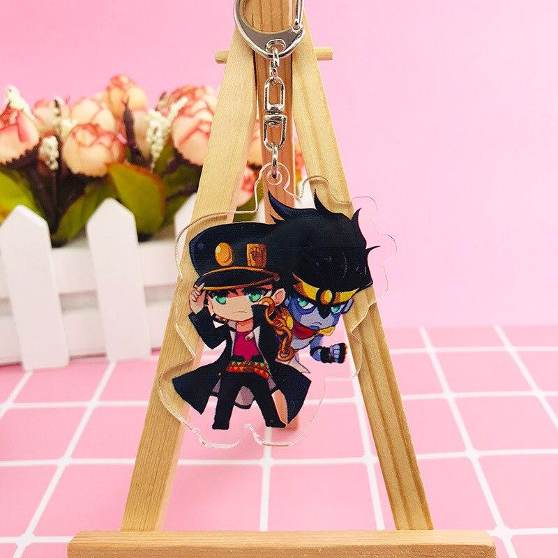 Llaveros JoJo Bizarre Adventure de acrílico de Anime de dos caras, llaveros de figuras Kujo Jotaro Kira Yoshikage Caesar, regalo de colección