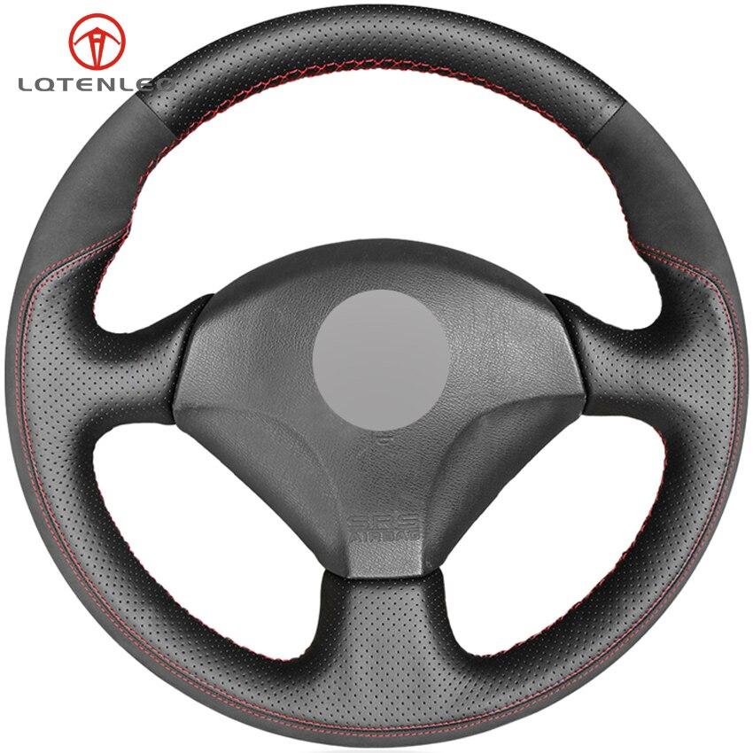 LQTENLEO negro de gamuza de cuero genuino protector para volante de coche para Honda S2000 2000-2008 Acura RSX Tipo-S 2005 cívica Si 2002 de 2003