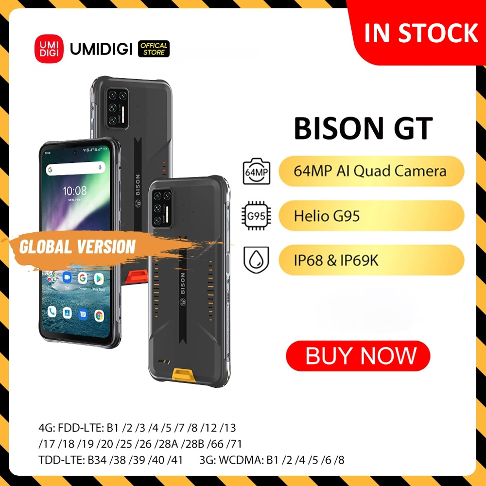UMIDIGI BISON GT Waterproof IP68/IP69K Rugged Phone Helio G95 64MP AI Quad Camera NFC 8GB+128GB 6.67