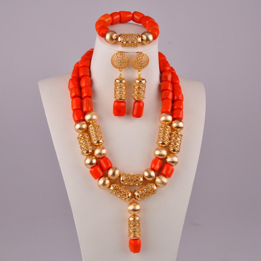 النيجيري العروس مجوهرات الزفاف البرتقال الطبيعي المرجان الخرزة قلادة مجموعة أفريقيا الزفاف مأدبة زي مجموعة مجوهرات AU-56