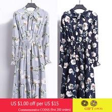 Femmes en mousseline de soie chemise robe printemps mode corée une ligne Bow Fit mince robes de soirée décontracté Vintage imprimé fleuri robe Midi Vestidos