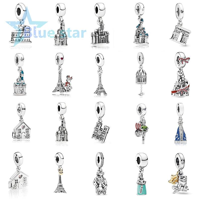Bule Star 100% 925 Sterling Silver 1: 1 high quality copy pandoras Arc De Triomphe Notre Dame Dangle Pendant Eiffel Tower Charm