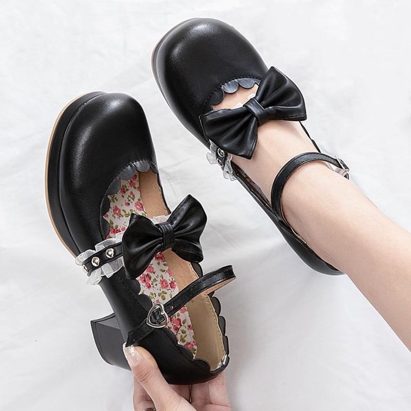 Zapatos merceditas de Lolita, zapatos de plataforma con tacón de bloque para mujer, bonitos zapatos de Cosplay con lazo, rosa, negro, Beige, talla grande, zapatilla para mujer