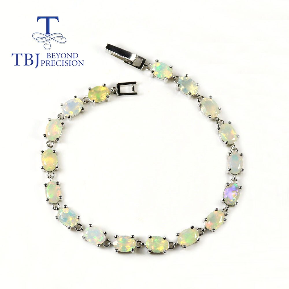 Simple Ethiopia Opal Bracelet oval cut 5*7mm fine natural colorful gemstone jewelry 925 sterling silver for women daily wear tbj