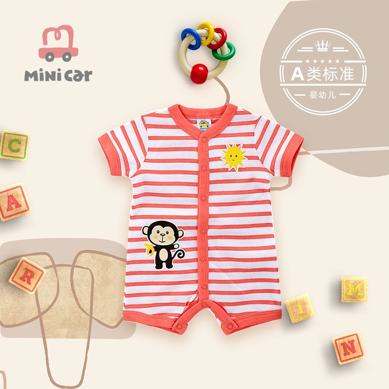 Baby's one-piece clothes, baby's hatchsuit, climbing suit, male baby, newborn, full moon, thin clothes, summer