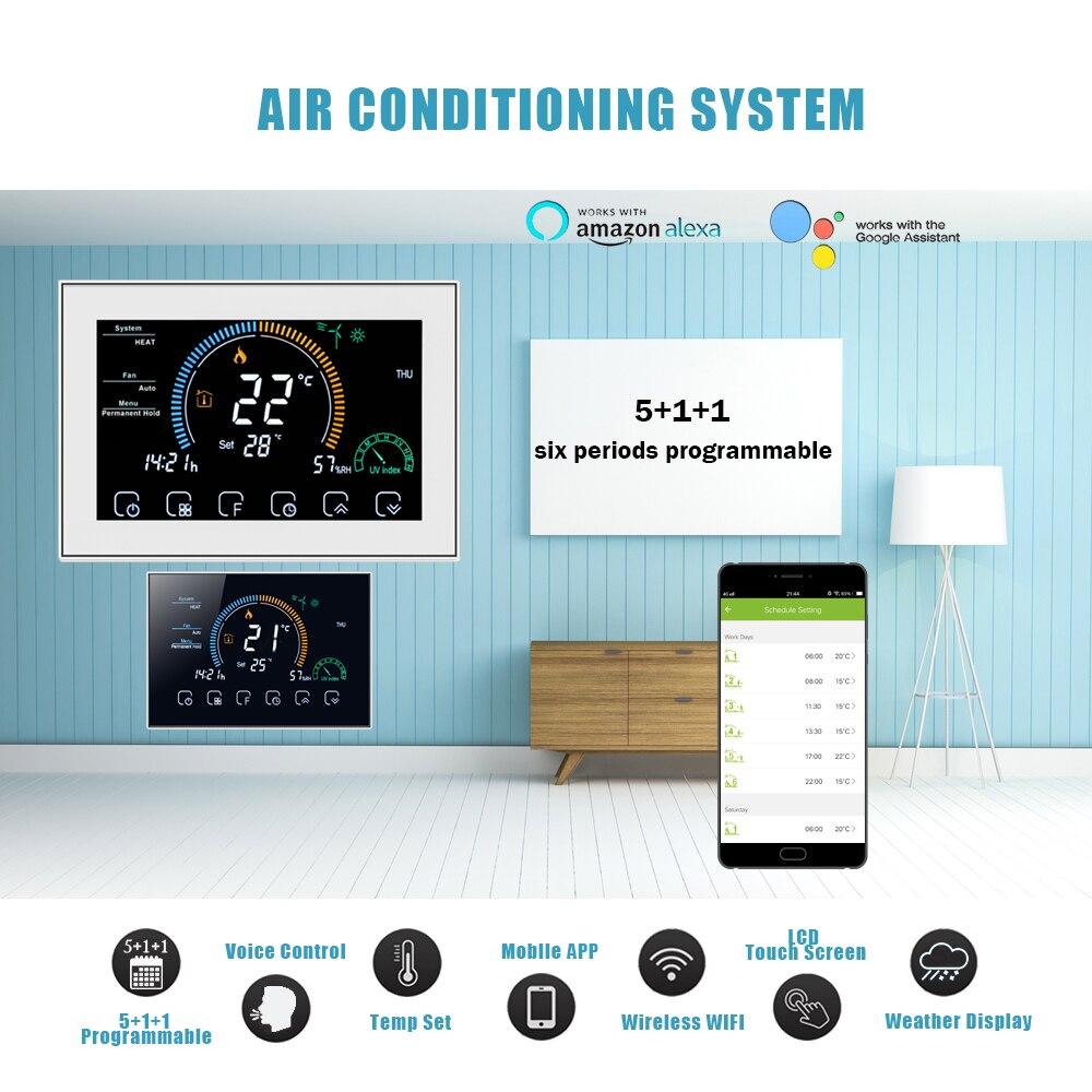 متحكم في درجة حرارة مكيف الهواء المركزي ، 2P/4P WiFi ، TUYA ، 3 سرعات ، وحدة ملف مروحة متوافقة مع Alexa و Google Home
