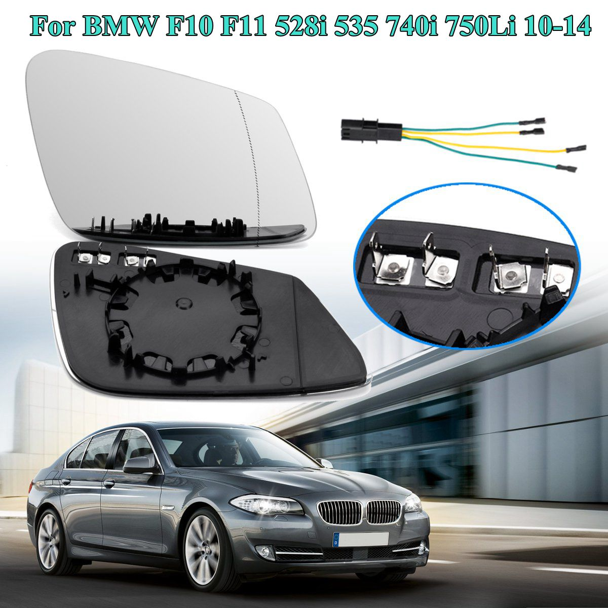 Miroir chauffant latéral gauche/droit   Avec fil, pour BMW F10 F11 528i 535 740i 750Li 2010 2011 2012-2014, lentille de rétroviseur de voiture