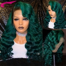 Ombre Green Color Lace Front Wigs for Women 180% Brazilian Remy Wavy Hair 13x4 Lace Front Human Hair
