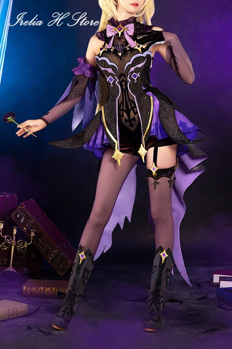 Trajes de Halloween Novo Jogo Fischl Genshin Impacto Cosplays Cosplay Traje Vestido Feminino Conjunto Completo