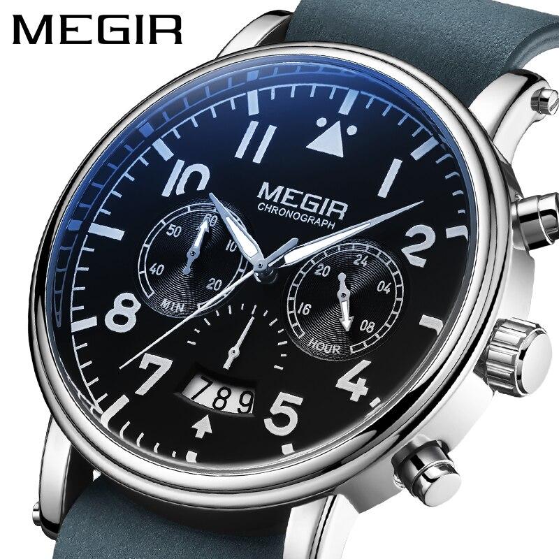 MEGIR-ساعة كوارتز بحزام جلدي للرجال ، كرونوغراف ، رياضية ، فاخرة ، زرقاء