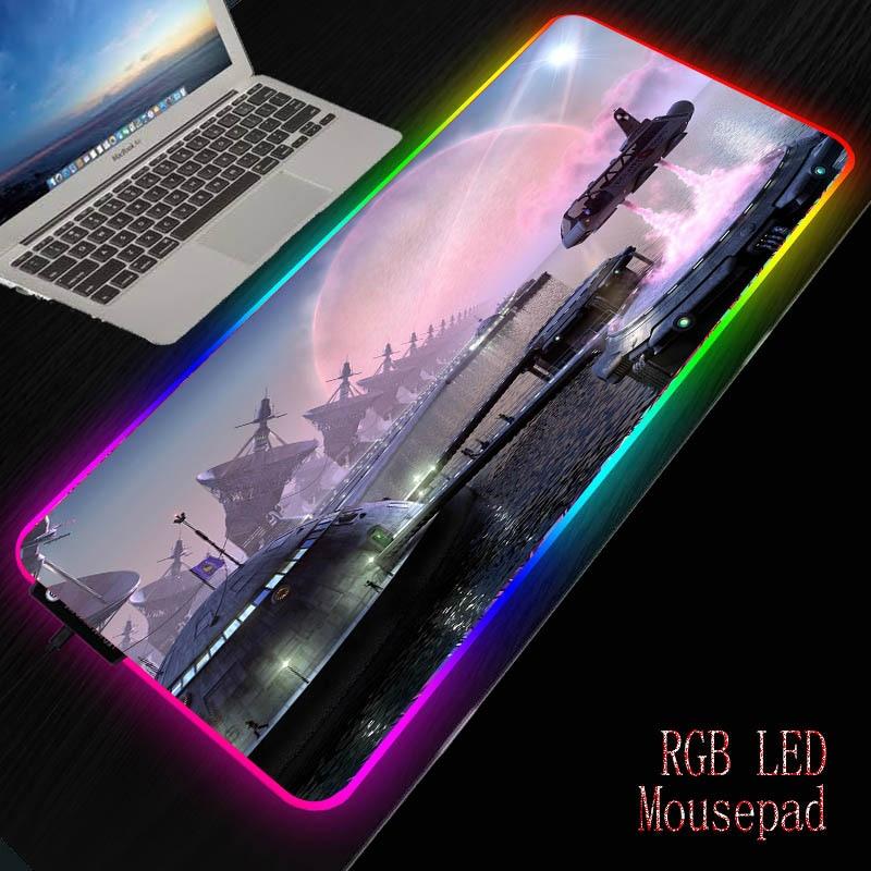 Alfombrilla grande para ratón MRGBESTRGB de fantasía, LED RGB, para juegos, 2M, codo, Cable de datos USB, alfombrilla impermeable para ratón, alfombrilla para teclado para ordenador Gamer