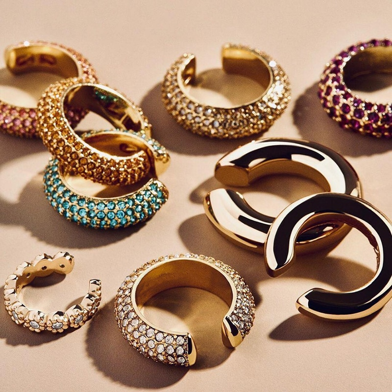 Nueva moda, pendiente de puño de cristal en forma de C para mujer, pendiente pequeño de circón, Clip sin perforado pendiente fiesta boda, joyería