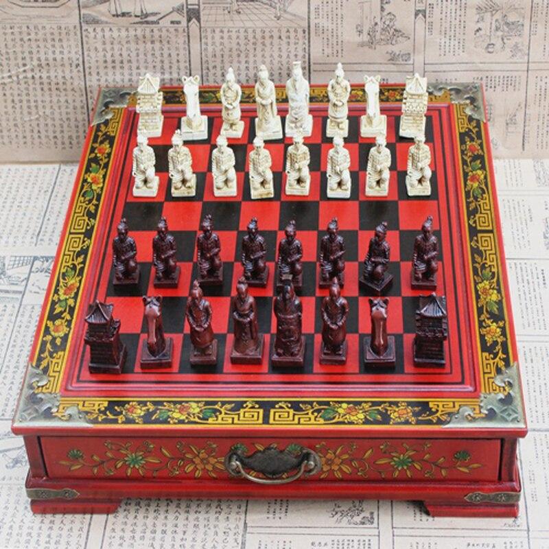 Conjunto de xadrez arcaico chinês 32 peças de xadrez de madeira xadrez coleção terra-cotta guerreiros vintage conjunto de xadrez entretenimento