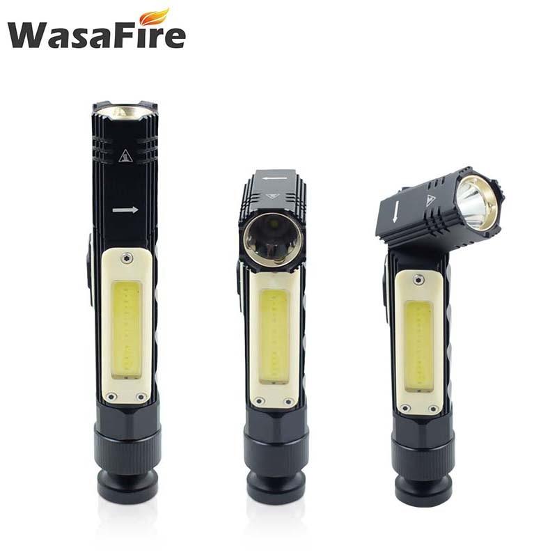 2 unids/lote 3800LM COB luz de trabajo USB recargable linterna LED cola magnética impermeable 5 modos linterna principal para explorar
