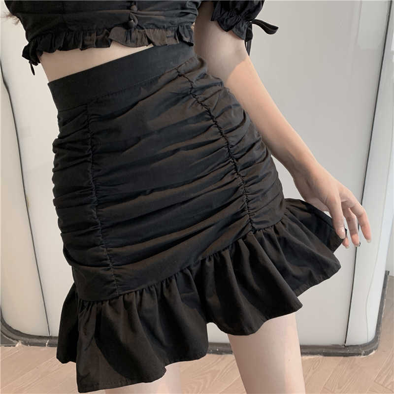 Fashion Suit 2021 New Women's Summer Puff Sleeve Short Top Pleated Fishtail Hip Skirt Two-Piece Set